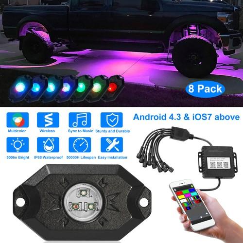 8Pcs Auto RGB LED Rock Light Kit Neon LED Light