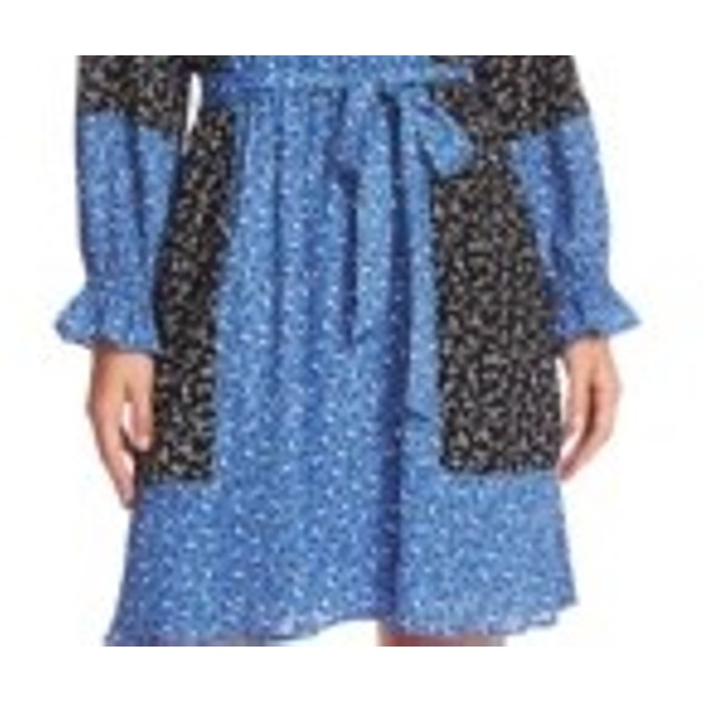 Cece Women's Print Blocked Budding Floral Dress Black Size Medium