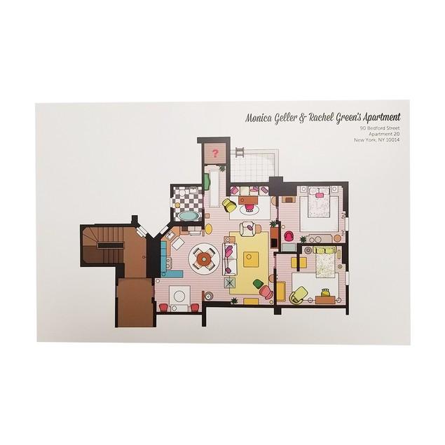 Monica Geller And Rachel Green Apartment Floor Plan Poster 11 x 17