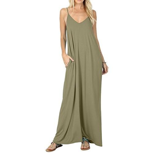 Women's Casual Plain Pockets Loose Beach Maxi Dress