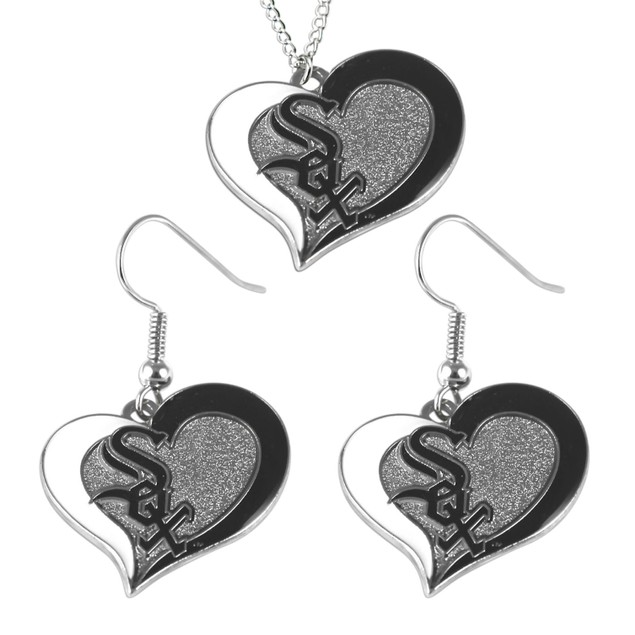 MLB Chicago White Sox Swirl Heart Necklace and Earring Set Charm Gift