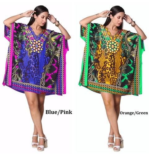 Short Sexy Kaftan Dress - Kimono, Resort Wear Short Dress