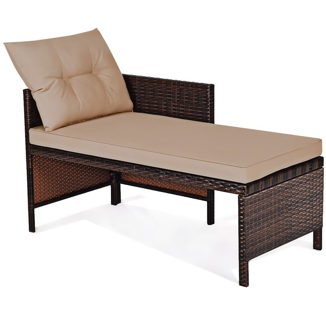 Costway 3PCS Patio Wicker Sectional Rattan Sofa Set