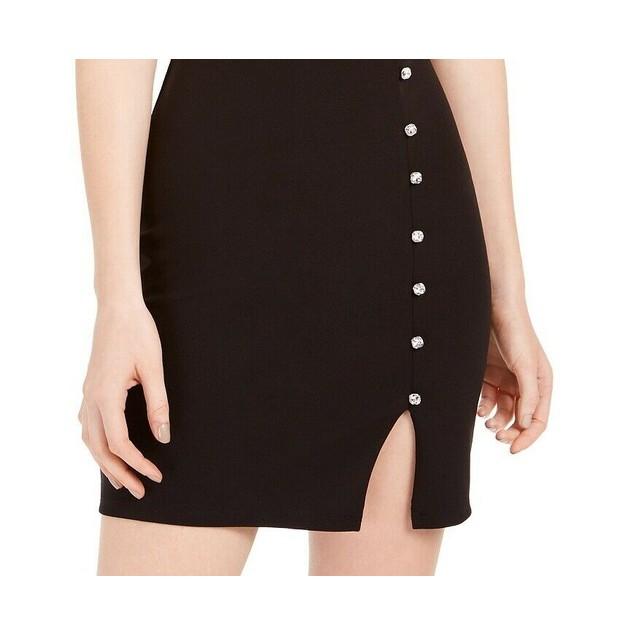 Trixxi Juniors' Crystal Button Scuba Slip Dress Black Size 5