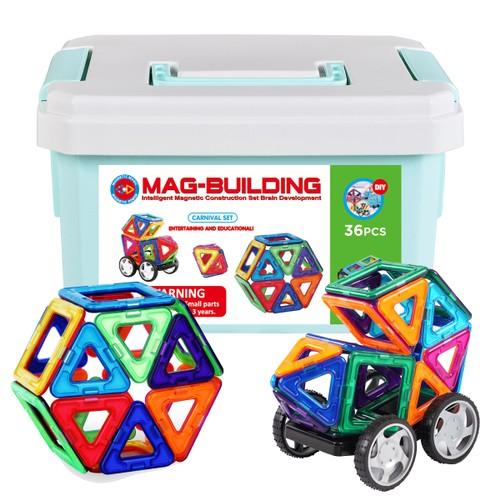 Zunammy Kids' Magnetic Building Blocks Tile Set (36 pcs)