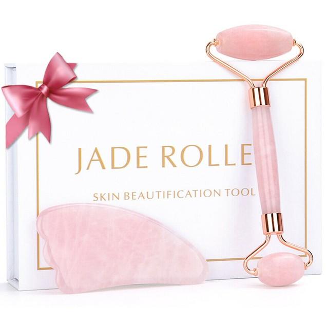 Rose Quartz Facial Jade Roller Massager Gua Sha Set Gift for Face Skin Care