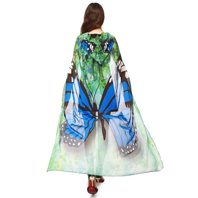 Women Novelty Print Chiffon Butterfly Wing Cape Scarf Peacock Poncho Shawl