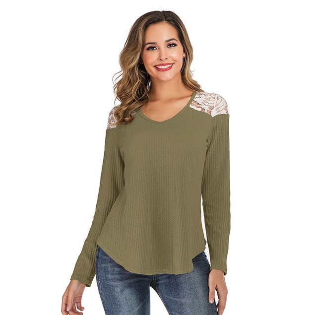 Lilly Posh Long Sleeve Lace Shoulder Waffle Top