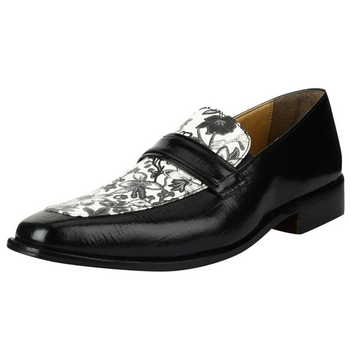 LibertyZeno Men's Loafers Floral Print Slip On Manmade Leather L-1086