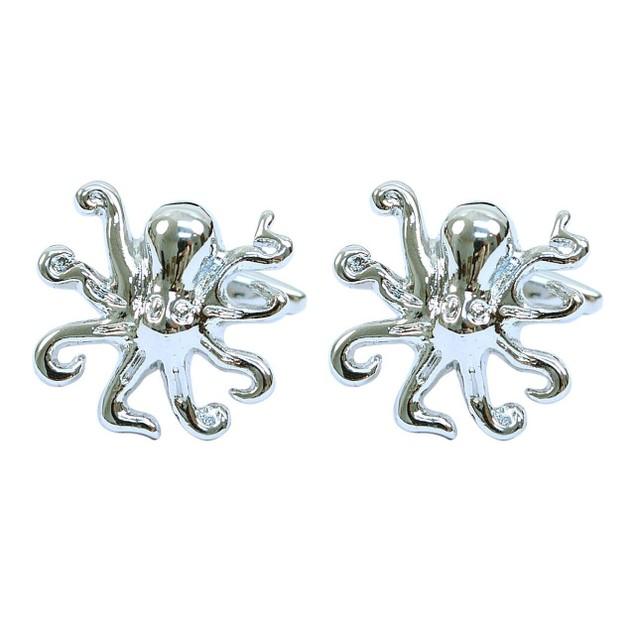 "Silver-tone ""Octopus"" Brass Cufflinks"