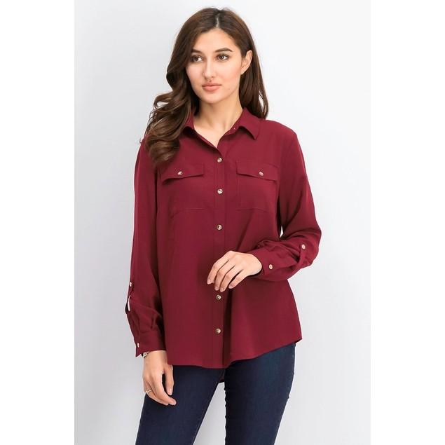 Charter Club Women's Two-Pocket Shirt Wine Size X-Large