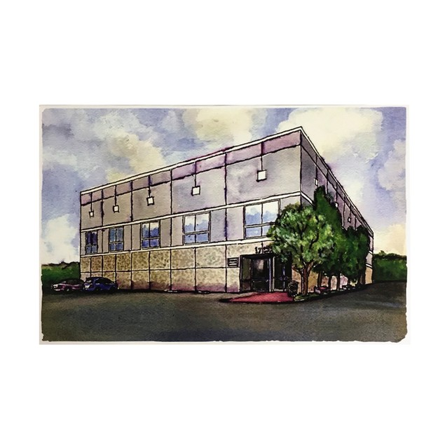 Pam Beesly Office Building Watercolor Painting Poster 18 x 24