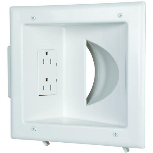 Commercial Electric Low Voltage Media Plate with Duplex Media Receptacle,