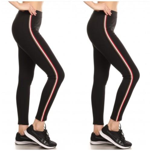 2-Pack Women's Cotton Blend Side Stripe Leggings