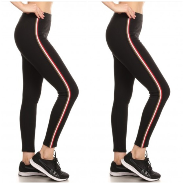 2-Pack Women's Cotton Blend Side Stripe Leggings