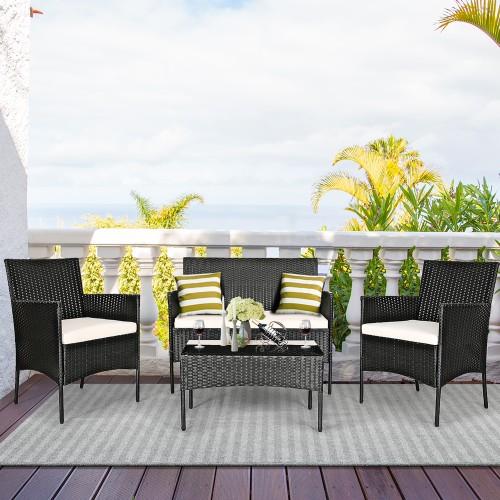 Costway 8PCS Patio Rattan Cushioned Sofa Coffee Table Backyard Porch