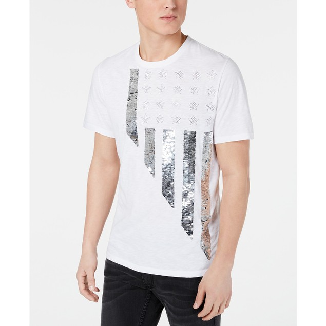 INC International Concepts Renew Sequin Skull T-Shirt White 2 Extra Large