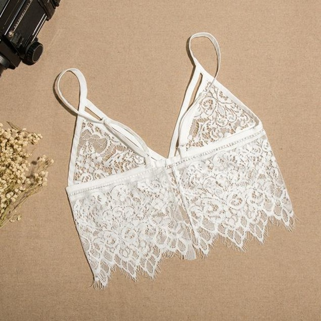 Women's Hollow Translucent Lace Frenum Strap Lingerie Bra