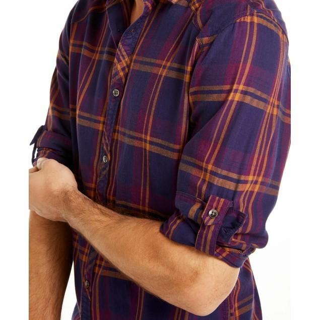 INC International Concepts Men's Marc Plaid Shirt Purple Size Extra Large