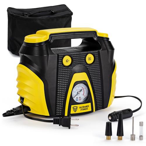 Portable Air Compressor Tire Inflator w/ 3 Nozzle Adapters