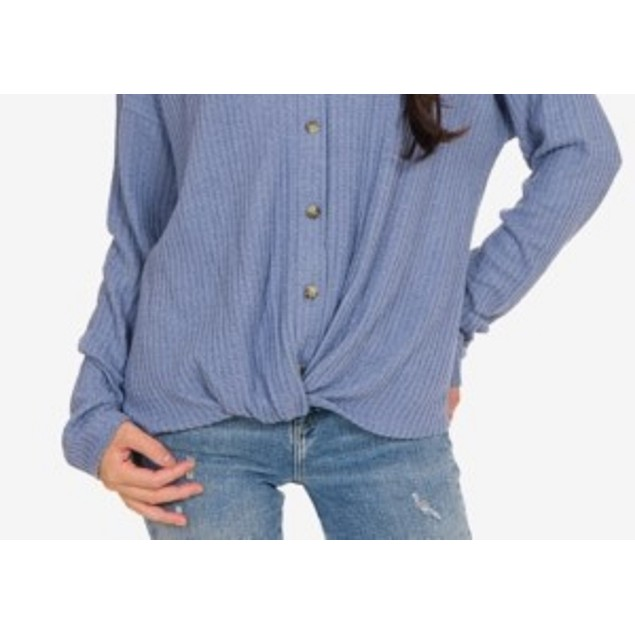 Hippie Rose Juniors' Twist-Front Button-Up Top Blue Size Extra Large