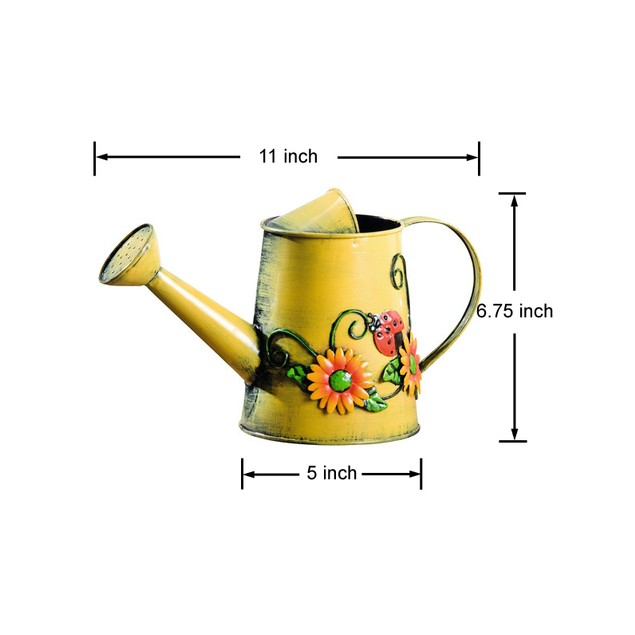 Decorative Sunflower & Ladybug Metal Watering Can