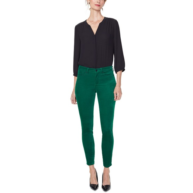 NYDJ Women's Ami Stretch Velvet Skinny Pants Green Size 16