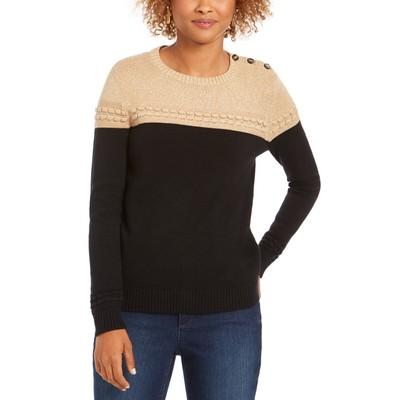 Charter Club Women's Petite Lurex Knit Sweater Black Size Medium