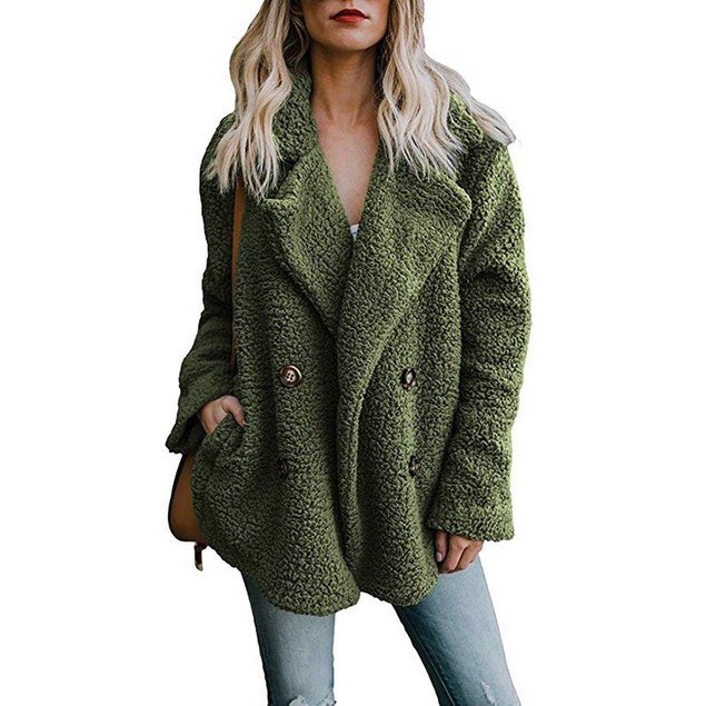 Women's Plush Peacoat (Green)