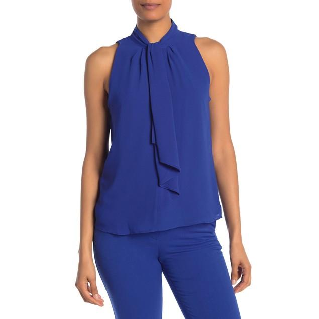 Calvin Klein Women's Tie-Neck Sleeveless Blouse Blue Size Small
