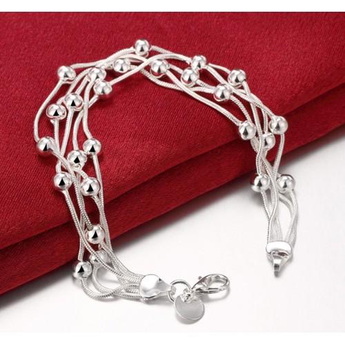 Silver Multi Row Beaded Bracelet