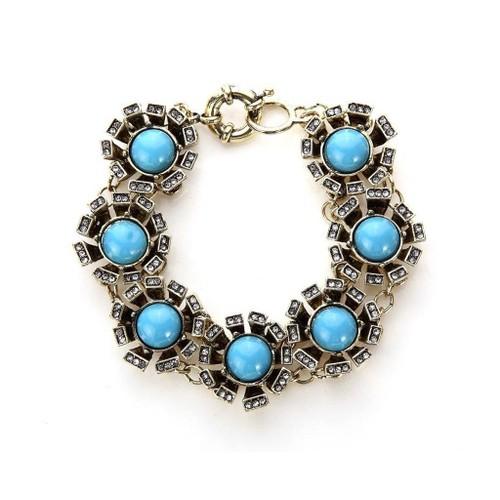 Novadab Vintage Blue Antique style Round-cluster Bracelet