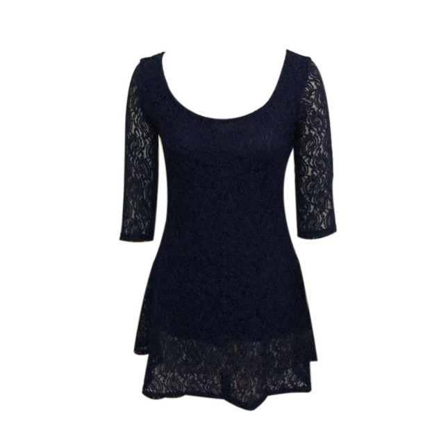 Fashion Women Lace Three Quarter Party Evening Short Mini Dress