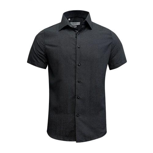 Monza Modern Fit Short Sleeve Black Houndstooth Dress Shirt