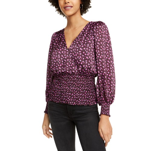 Leyden Women's Smocked Surplice Top Pink Size X-Large