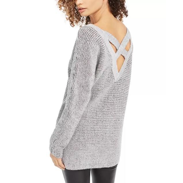 Bar III Women's Crisscross Back Tunic Sweater Gray Size Large