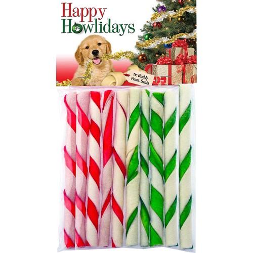 "Pet Factory Happy Howlidays Christmas Beefhide Twists Sticks 10pk 5"""