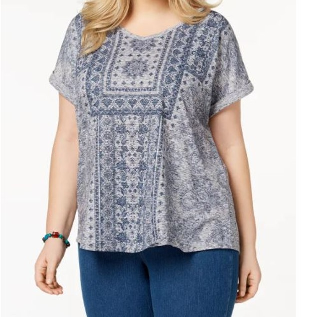 Style & Co Women's Plus Printed Cuffed Sleeve Top Blue Size 1X