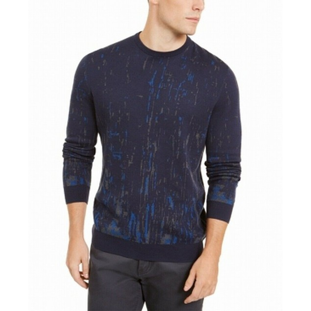 Alfani Men's Paint Splatter Crewneck Sweater Blue Size XX-Large