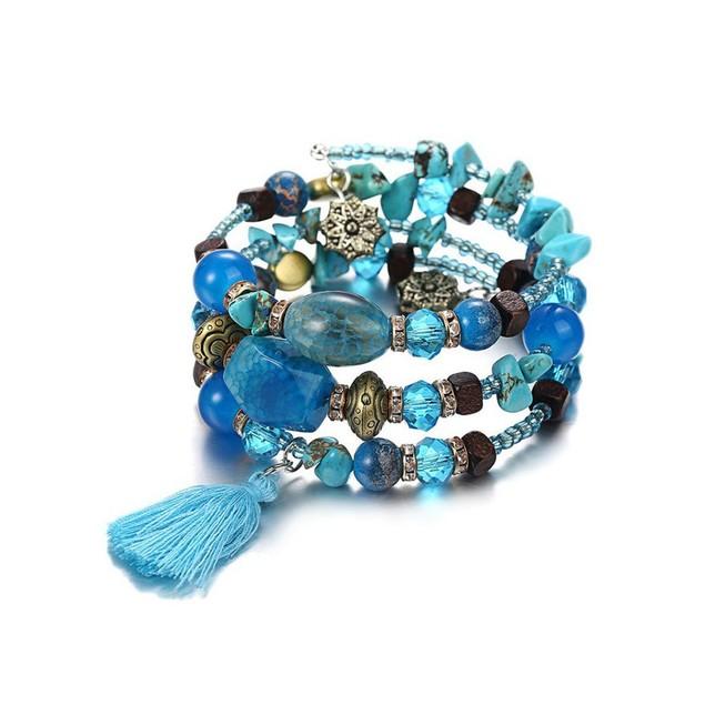 Novadab Charm Multi-Patterned Bead Tri-Layer Bracelet