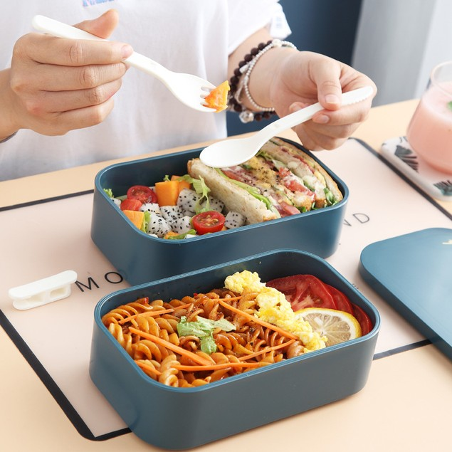 Creative Double-layer Plastic Lunch Box Can Be Microwave Oven Student Large-capacity Portable Lunch Box