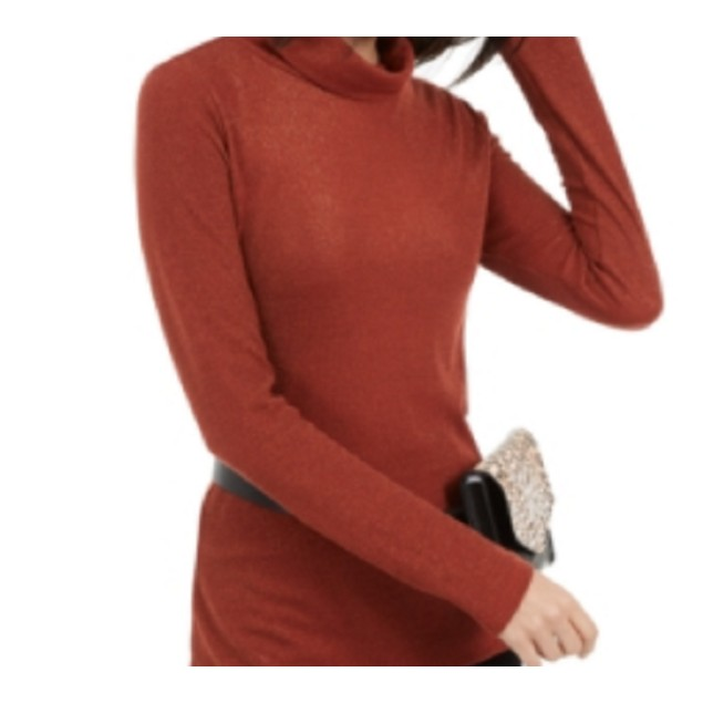 INC International Concepts Women's Shimmer Turtleneck Red Size Large