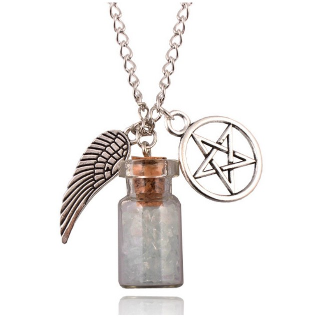 Rock Salt Bottle With Angel Wing And Pentagram Protection Necklace