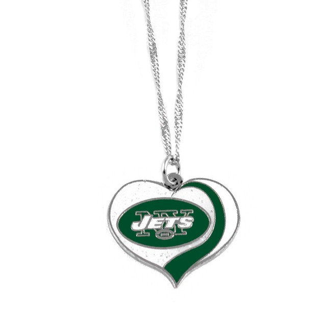 New York Jets NFL Glitter Heart Necklace Charm Gift
