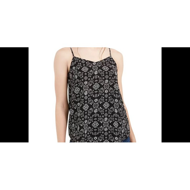 Pink Rose Juniors' Tile Print Cami Black Size Medium