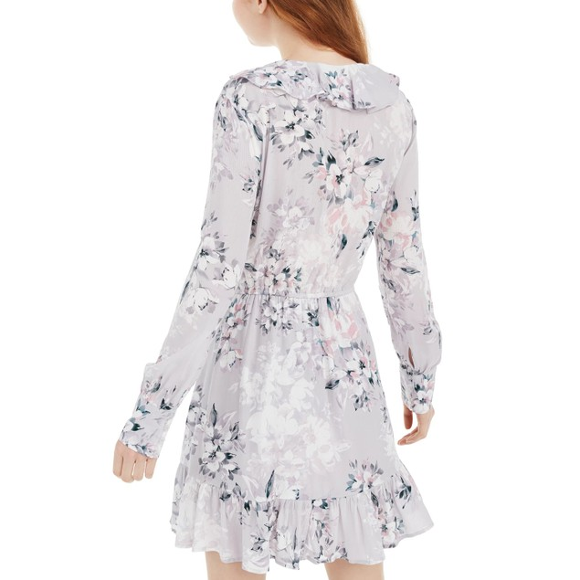 American Rag Juniors' Printed Ruffle-Trimmed Wrap Dress Gray Size Small