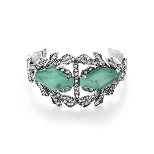 Novadab Coral Green Crystal Elaborate-styled Epoch Bracelet