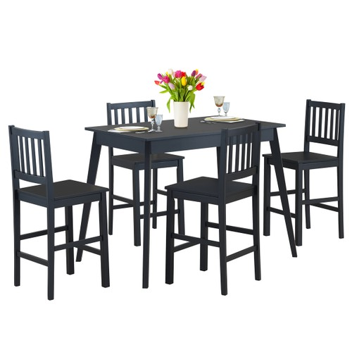 """Costway 5 Pcs Counter Height Dining Set Kitchen Table 35.5"""" & 4 Counter Cha"""
