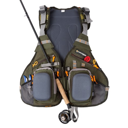 16 Pocket Fishing Vest – Lightweight Adjustable Nylon and EVA Foam Tackle Organizer Jacket for Lake, Stream and Pond Fishing by Wakeman Outdoors