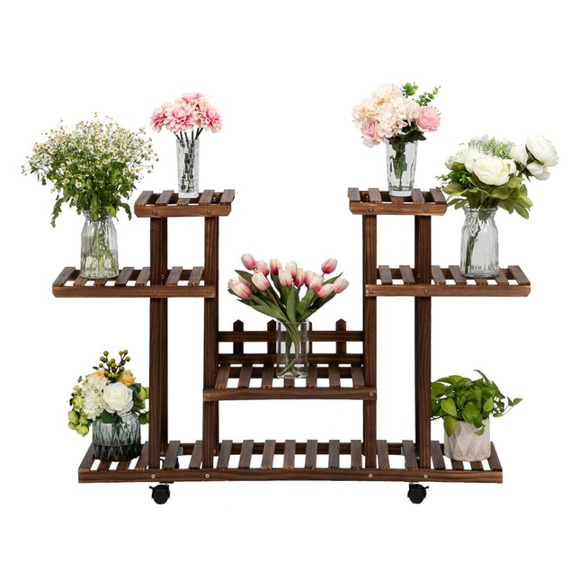 4-Layer 12-Seater Indoor And Outdoor Multifunctional Carbonized Color Wheel Wooden Plant Stand